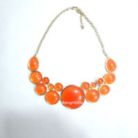 Ships Now:  J Crew Necklace, Bubble Necklace, Bib Necklace, Statement Necklace, Chunky , Orange, Geometric, Necklace