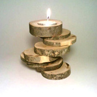 Candle Holder, Rustic Candle Holder, Log Candle Holder, Spiral, Nine-tiered, Wood, Unique, OOAK