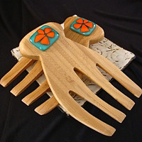 Teal and Orange Flower Bamboo and Glass Salad Tongs
