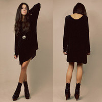 ◉Vtg 90s Blk SEMI-SHEER Distressed GOTH Oversize Minimalist DRAPEY Mini Dress SM