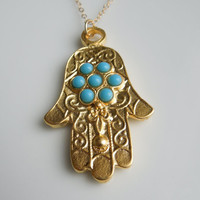 Hamsa Necklace with faux Turquoise and Fleur de Lis IMPORTED from ISTANBUL, TURKEY