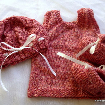 Coral Pink Newborn Baby Layette, Baby Hat, Baby Dress and Baby Booties