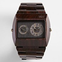 black dual time zone wooden watch