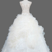 A-Line/Princess V-neck Chapel Train Organza Satin Wedding Dresses With Beadwork