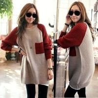Women's Crew neck Knit Top PULLOVER Long Sweater Loose Jumper w/ Pockets S2151
