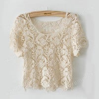 Super Cute Girl Hollow Short Sleeves Flower Crochet Knit Beige Short Tops