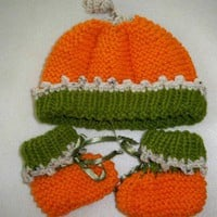 Hand Knitted Orange and Green,  Pumpkin Hat with Twist Top and Booties