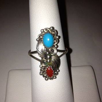 Navajo Turquoise Red Coral Sterling Ring Sarah Chee Sz 7 Silver 925 Leaf Leaves Vintage Southwestern Jewelry Cocktail Birthday Mother's Gift