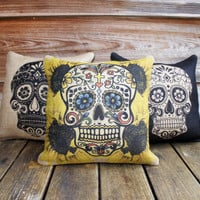 Set of 3 Sugar Skull Pillow Covers, Throw Pillow, Halloween Decoration, Day of the Dead, Da de los Muertos, 16x16