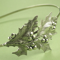 Holiday headband holly berry hostess leaf retro christmas hair accessory