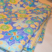Handmade Baby Blanket in Blue and Yellow with Butterflies Flowers