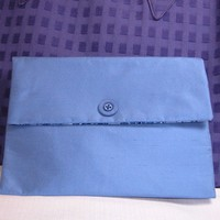 Clutch in Sky Blue Dupioni Silk with Blue Batik Lining