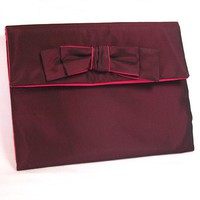 Classy Clutch in Burgundy Black Taffeta and Fuchsia with Bow