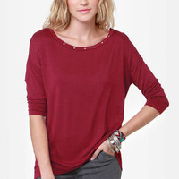 Heyday Studded Wine Red Top