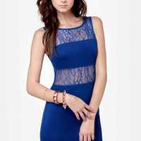 Live Coverage Cutout Blue Lace Dress