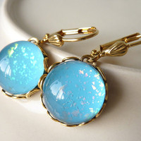 Blue Glitter Earrings, Holographic Flakes, Leverback Earrings