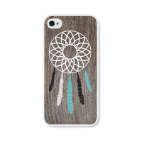 Dreamcatcher Apple iPhone 4 Case - Plastic iPhone 4s Case - Wood Tribal Southwest iPhone Case Skin - Turquoise Brown White Cell Phone