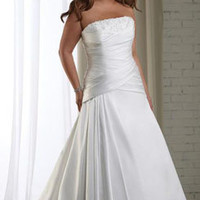 Ruffled Plus Size Wedding Dress