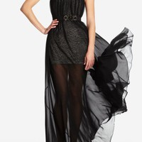 BCBGMAXAZRIA - DRESSES: EVENING: ASTRID STRAPLESS CHIFFON-OVERLAY DRESS