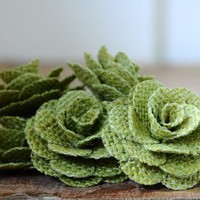 One Dozen Avocado Green Large Rustic Eco-friendly Rose Made of Burlap