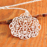 Silver Filigree Necklace - filigree pendant, silver filigree disk, floral filigree, sterling silver