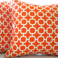 Mandarin orange geometric pillow cover 16 x 16