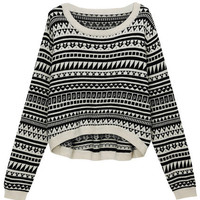 ROMWE | Asymmetric Geometric Print Black Jumper, The Latest Street Fashion