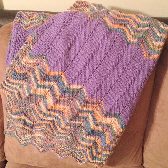 Knitting Patterns For Baby Blankets With Sheep : knit baby blanket - purple multi-color from Spinning Sheep
