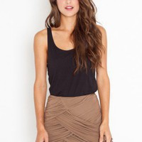 Ruched Drape Skirt - Mocha - NASTY GAL