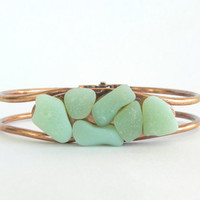 Copper and Sea Glass Bangle Bracelet
