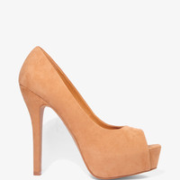 Peep Toe Faux Suede Pumps