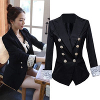 Korean Style Women Slim Double Breasted Lace Cuff Black Blazer Suit Jacket