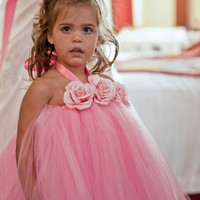 Gorgeous Ballerina Pink Halter Tutu Dress with by tallulahandbelle
