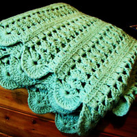 large vintage mint green crochet blanket. coverlet. bedspread. afghan. throw