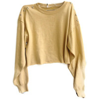 Cropped Star Studded Sweater Knit Jumper Yellow Fall Color Size S/M