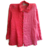 Button Down Shirt Top Two Toned Ombre Colored Size Small