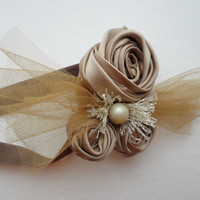 Champagne Satin Headband, Flowers and Tulle