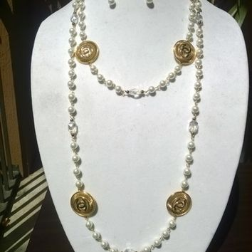 """Beautiful 60"""" Designer Inspired Pearl & Crystal Necklace Set"""