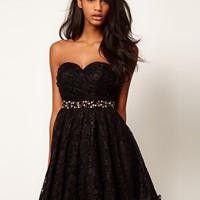 Opulence England Pearl Waistband Lace Dress at asos.com