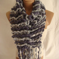 Hand Knitted Dark Blue Gray Pom Pom, Cocoon Scarf by Arzu's Style