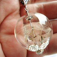 Dandelion Seed Glass Orb Necklace, Lucky You