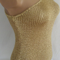 Hand knitted single shoulder gold blouse for summer and spring