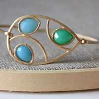 Green and blue bangle - custom size - limited offer