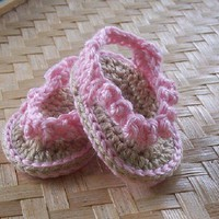Baby Shoes Sandals Flip Flops Soft Pink-Handmade - infant size NEWBORN