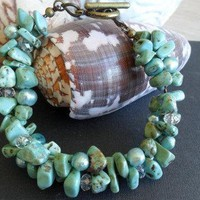 Crysocola Semi Precious Stone and Fresh Water Pearl Bracelet