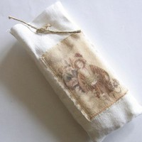 Candle Pouch with vintage christmas image - no. 1