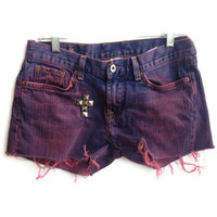 Dip Dyed Jean Shorts Studded Cross Denim Shorts Size 4-5
