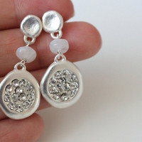 NEW silver earrings with moonstone