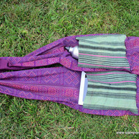 Party Pocket Scarf Hmong Batik Hemp on Purple Cotton With Fringe