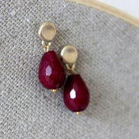 NEW ruby red earrings - lovely post with faceted ruby jade stone